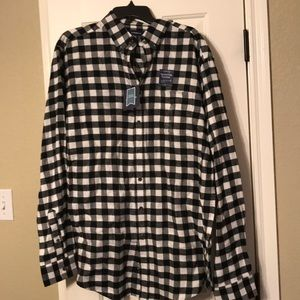 Men's Flannel Gingham Long Sleeve button up shirt